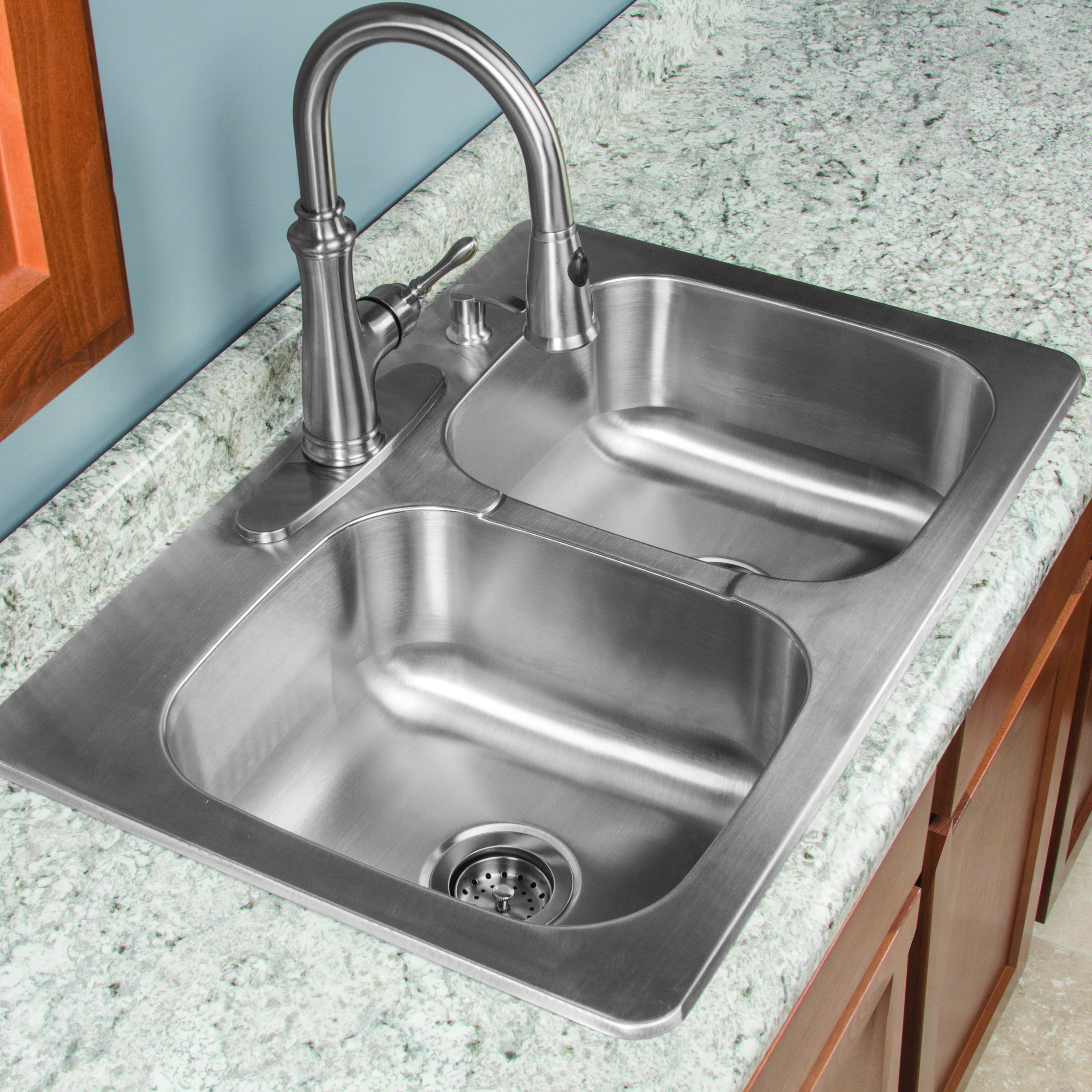 Kitchen sink stainless steel double drainer single bowl in vic ebay - Designed With Thoughtful Details The Tuscany 9 Double Bowl Kitchen Sink Kit