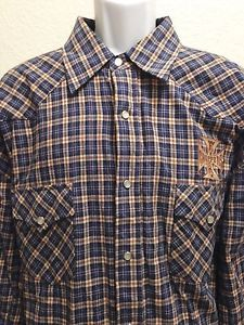 West Coast Choppers Jesse James Plaid Pearl Snap Long Sleeve Shirt 2XL EXC | eBay