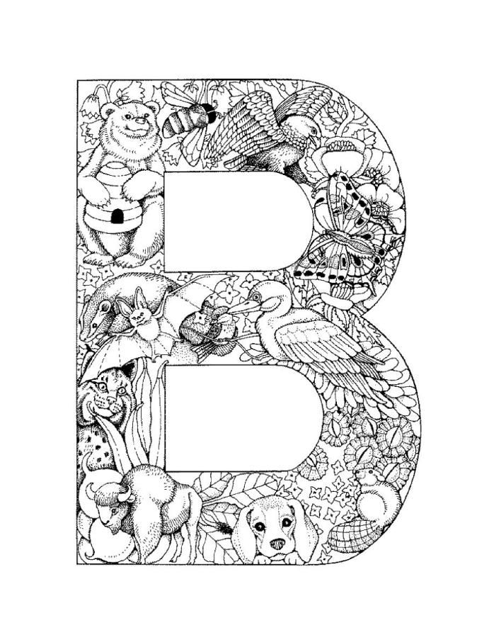 letterbpictureprintable alphabet coloring pages b - Alphabet Coloring Pages