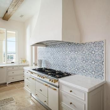 Blue Mosaic Curved Backsplash Tiles Spanish Style Kitchen Home Decor Kitchen Kitchen Inspirations