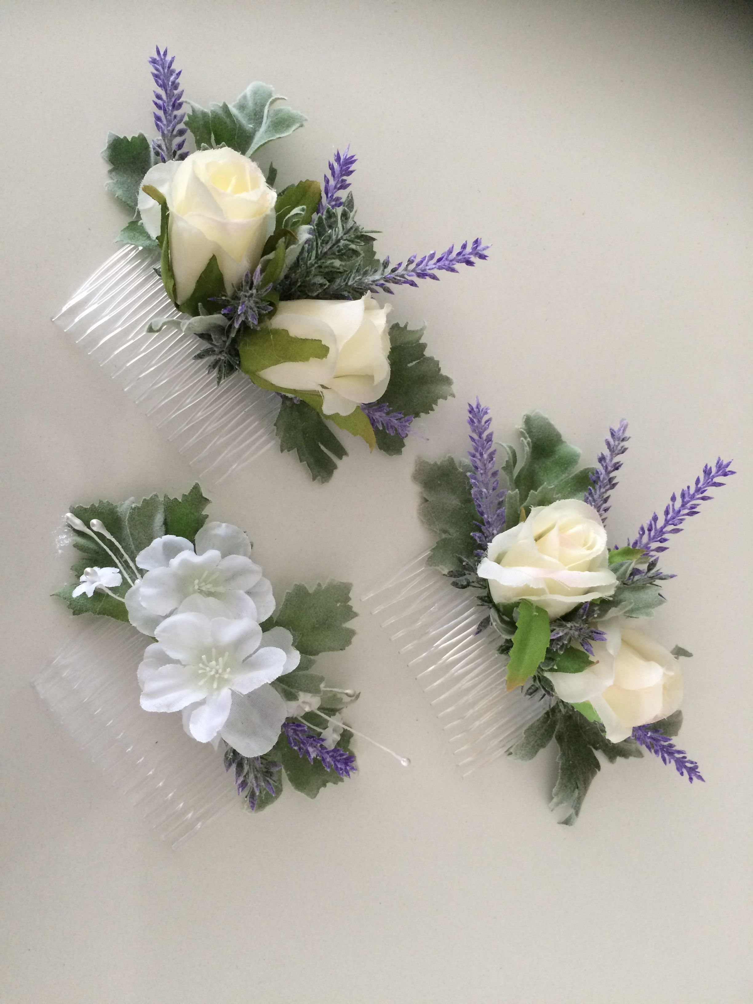 Artificial Floral Combs For Bridal Party Hair