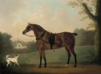 A Liver Chestnut Carriage Horse and a Terrier in a Park, a Stable Beyond, 1820, by Daniel Clowes (1774-1829)