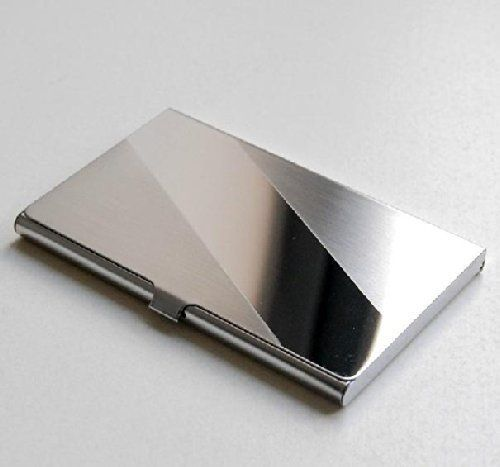 Amazon Com J J Fashion Stainless Steel Business Name Card Case Holder Slope Office Prod Stainless Steel Card Holder Metal Business Cards Card Holder Case