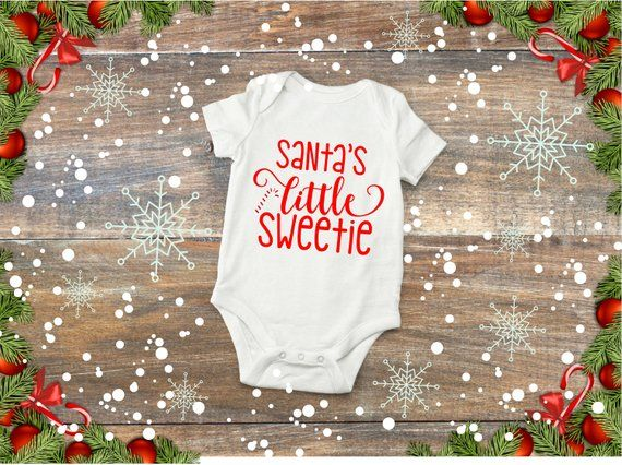 Santa\u0027s Little Sweetie Bodysuit, Candy Cane Bodysuit, Girl Christmas