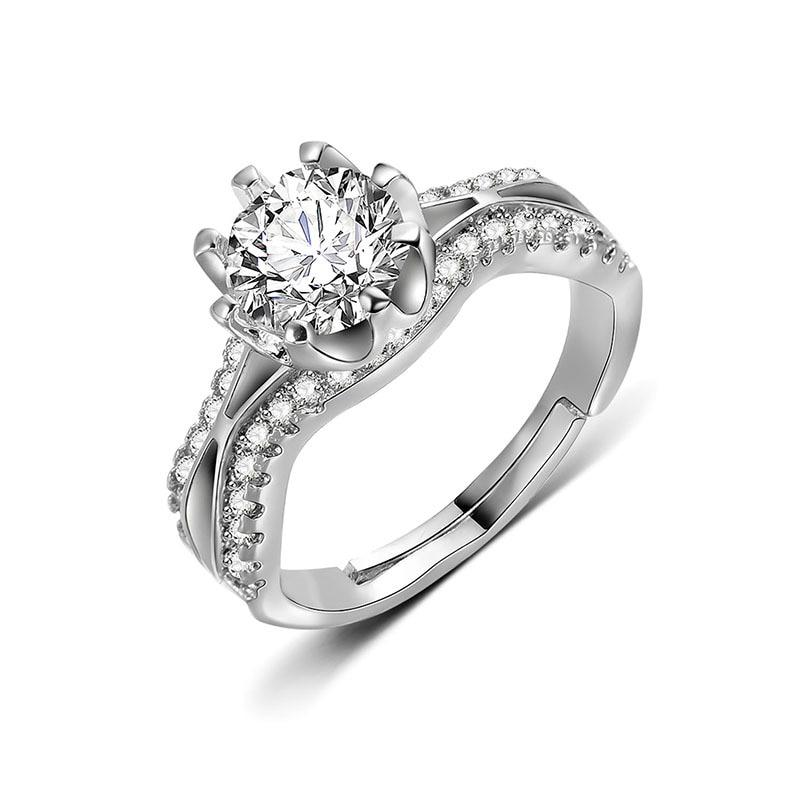 925 Silver White Sapphire Wedding Engagement Promise Bowknot Stackable Rings Set