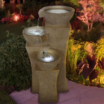 Pure Garden Resin Cascading Bowls Tiered Fountain with LED Light