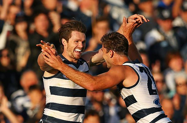 Patrick Dangerfield of the Geelong Cats celebrates after