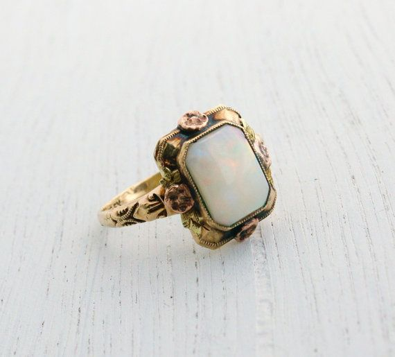 Reserved 1st Payment Antique 10k Rose Yellow Gold Opal Etsy Yellow Gold Opal Ring Opal Ring Gold Opal Rings