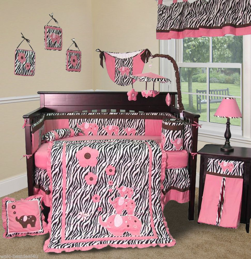 sweet and feminine baby girls bedding sets  admirable zebra  - sweet and feminine baby girls bedding sets  admirable zebra pattern andelephant print baby girls