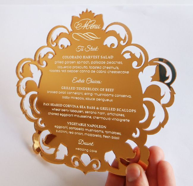 Wedding Getting Married Beautiful And Unique Custom Etched Engraved Gold Acrylic Invitations