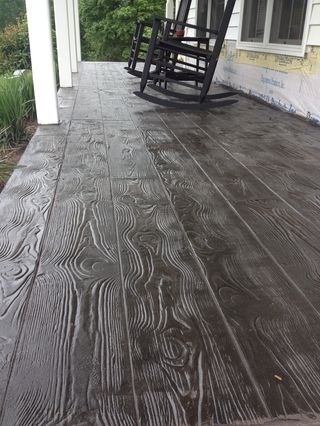 Wood plank pattern stamped concrete overlay in Stuart VA