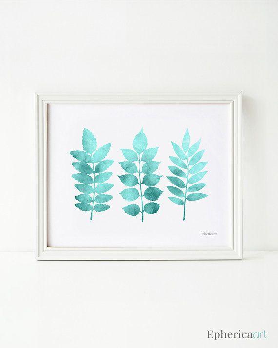 Printable Wall Art Teal Leaves Art Print Bathroom Wall Art