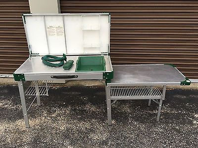 Vintage Coleman Camp Kitchen W Case Game Board Sink Stove Table