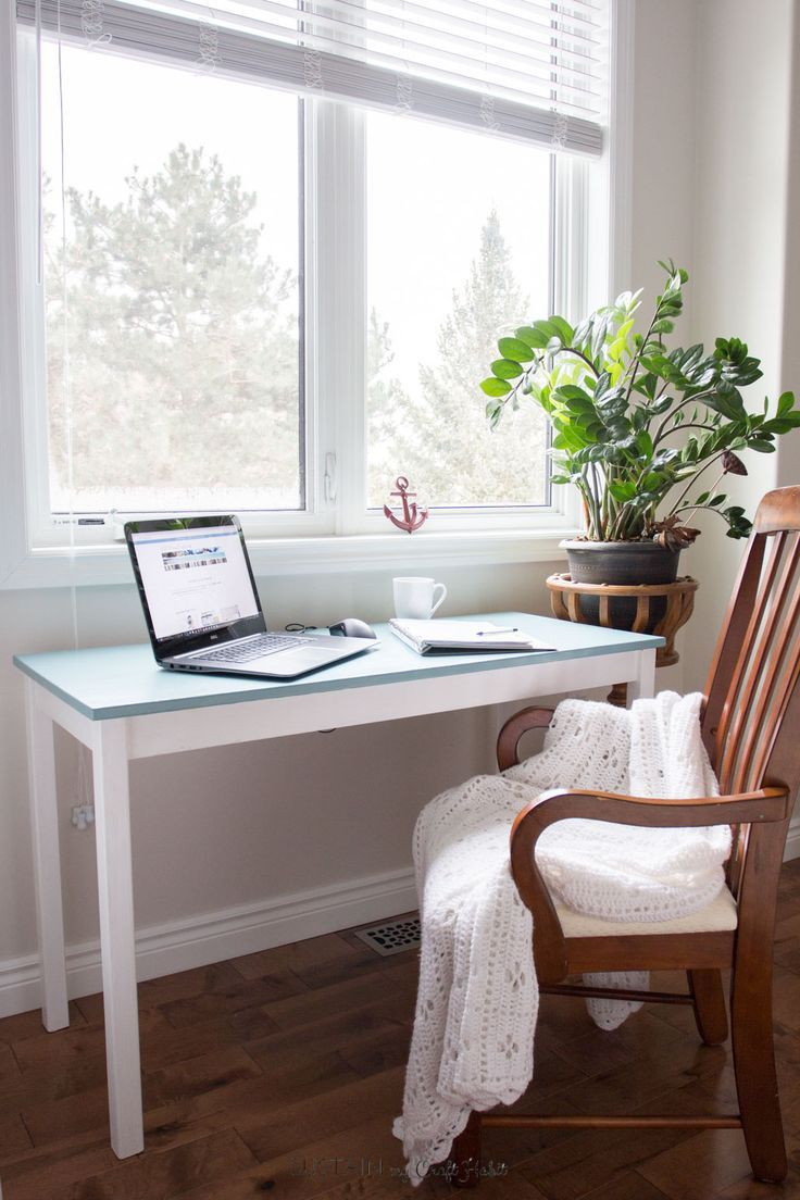 DIY wood console table coastal makeover | Simple home office nook ...