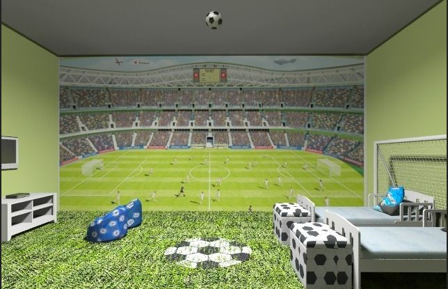 Behang Kinderkamer Voetbal : Stadion behang jongenskamer jongens slaapkamer en