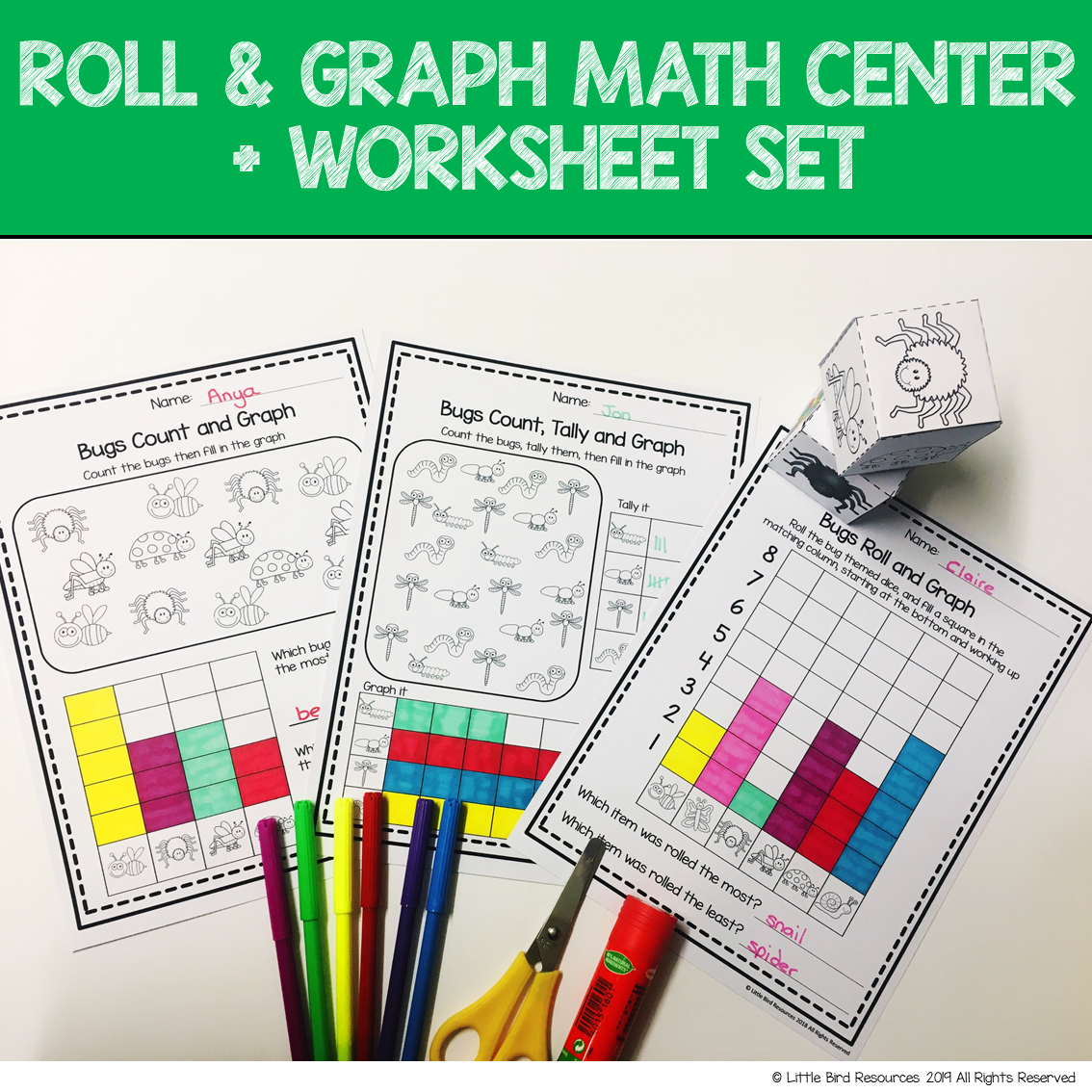 Roll Amp Graph Activity Amp Count And Graph Worksheets Bugs