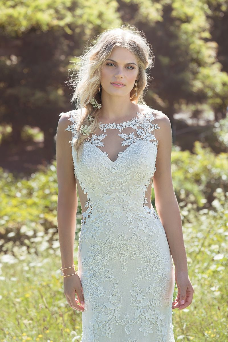 Lillian west wedding dress  Lillian West HandPlaced Lace Fit and Flare with Illusion Side Cut