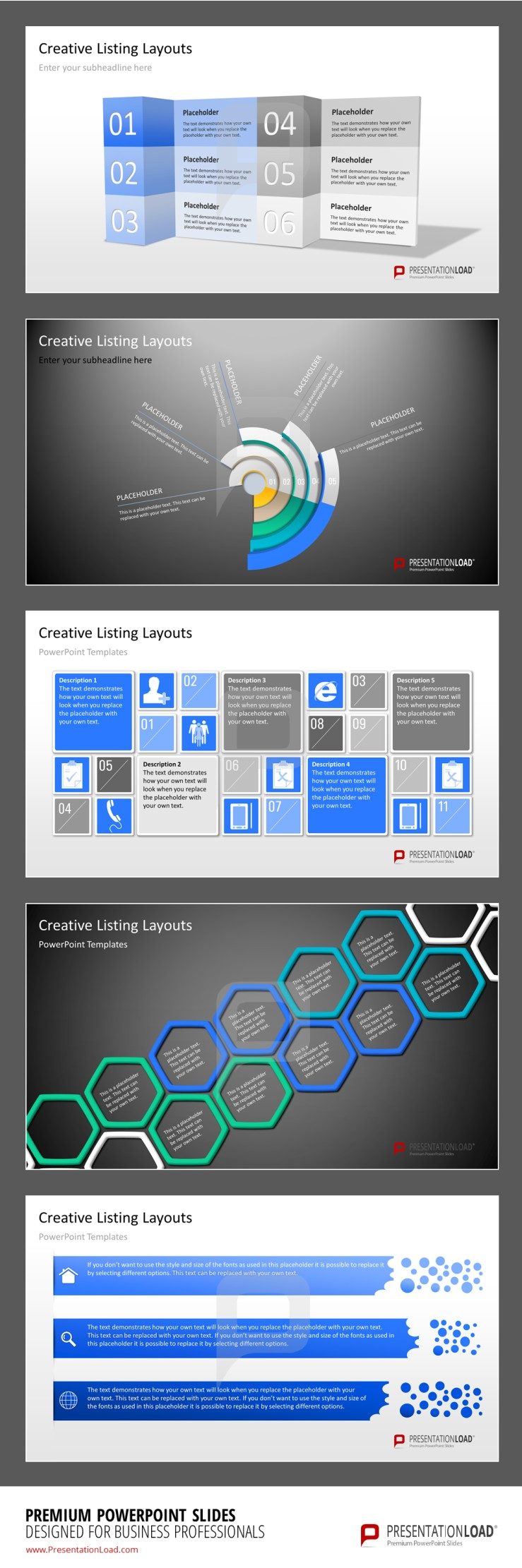 Creative Listings PowerPoint Template The listing layouts have all ...