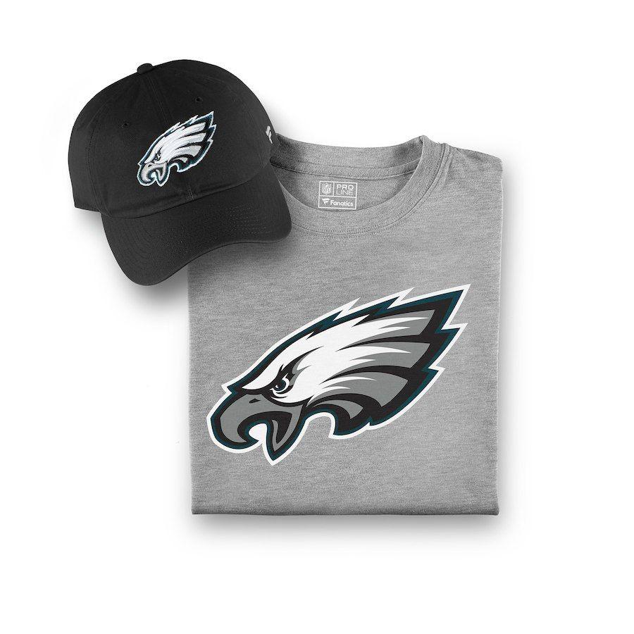 Men s Philadelphia Eagles NFL Pro Line by Fanatics Branded Black Gray  T-Shirt and Hat Bundle b5e770257