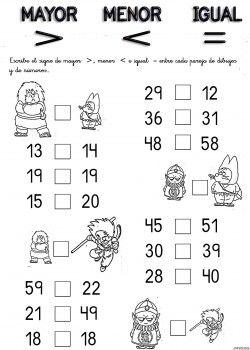 Resultado De Imagen Para Ejercicios De Mayor Que Y Menos Que Para Primer Ejercicios Matematicas Primaria Matematicas Primero De Primaria Ejercicios De Calculo