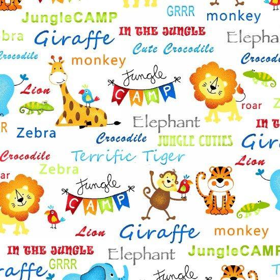 Jungle Camp Animal Words Giraffe Monkey Zebra White Cotton ...
