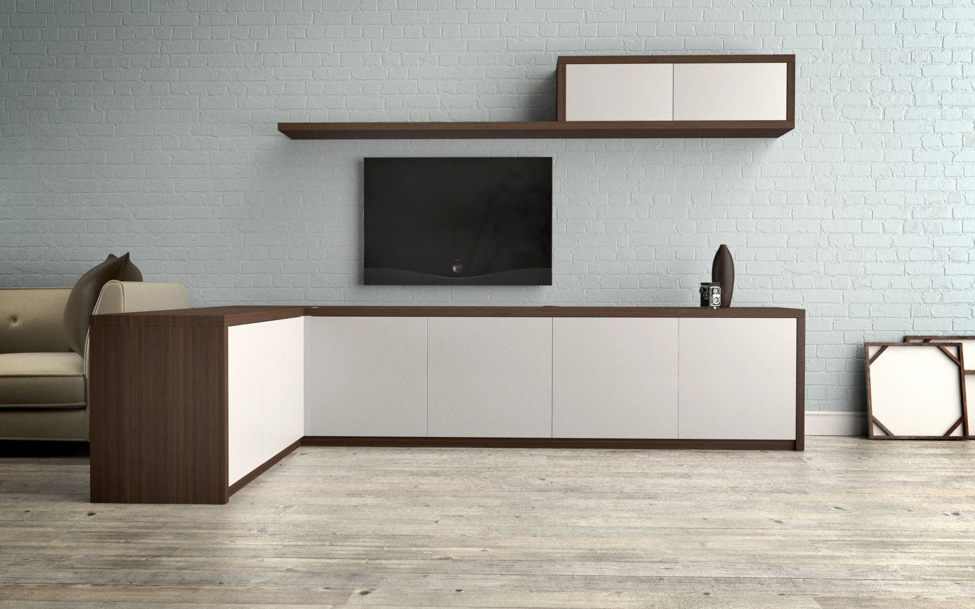 L Shaped Sideboard Cabinet With Shelving Above Wood