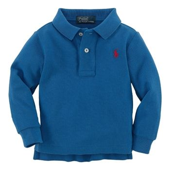 Ralph Lauren Baby Boys Blue Long Sleeve Polo Shirt Baby
