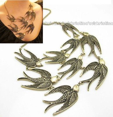 Bronze swallow bib necklace