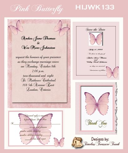 Pink Butterfly Themed Wedding Invitations Print Them Yourself