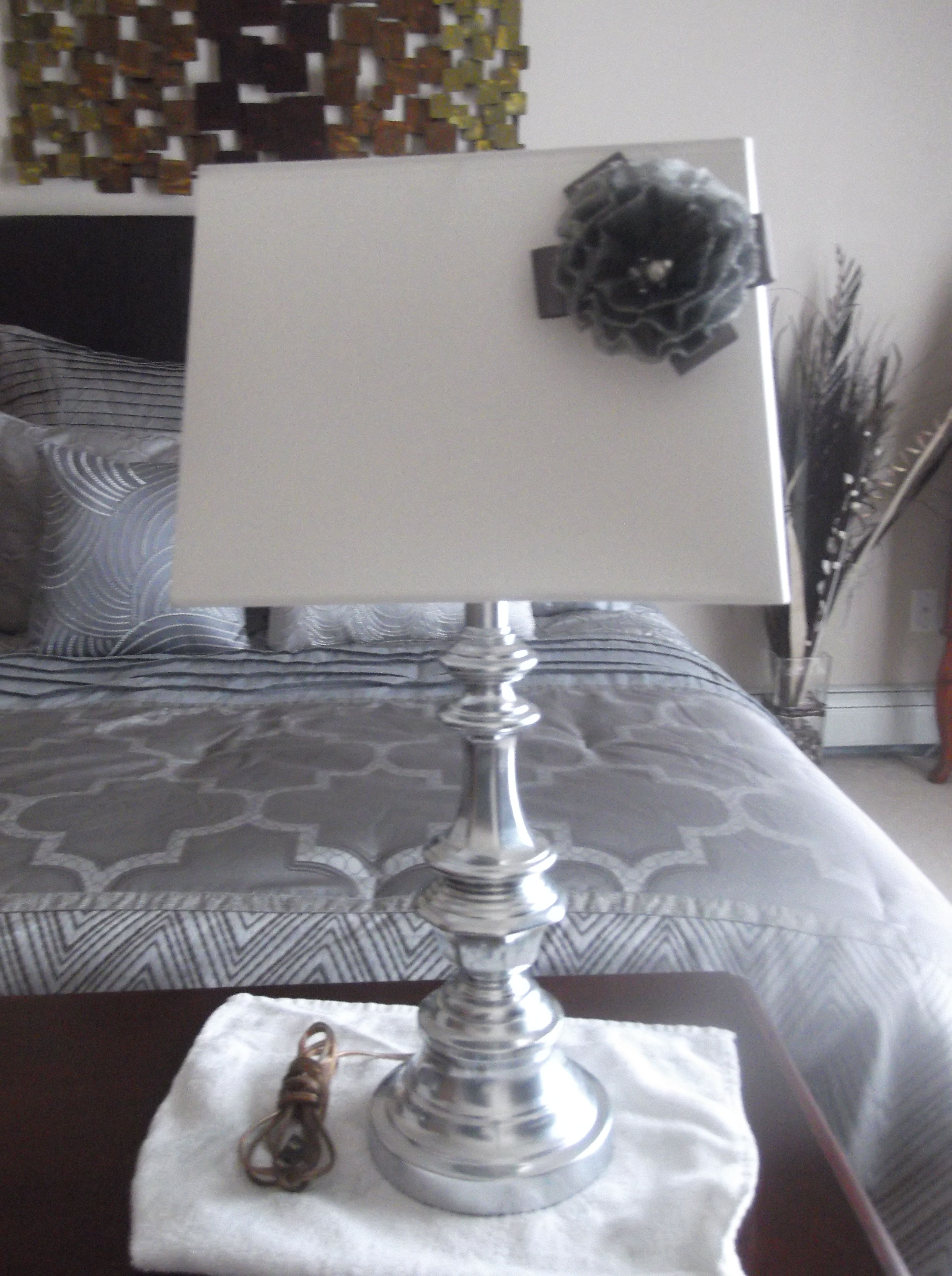 My DIY Lamp Makeover! Silver Foil Spray Paint, Embellisment From Hobby Lobby,  A