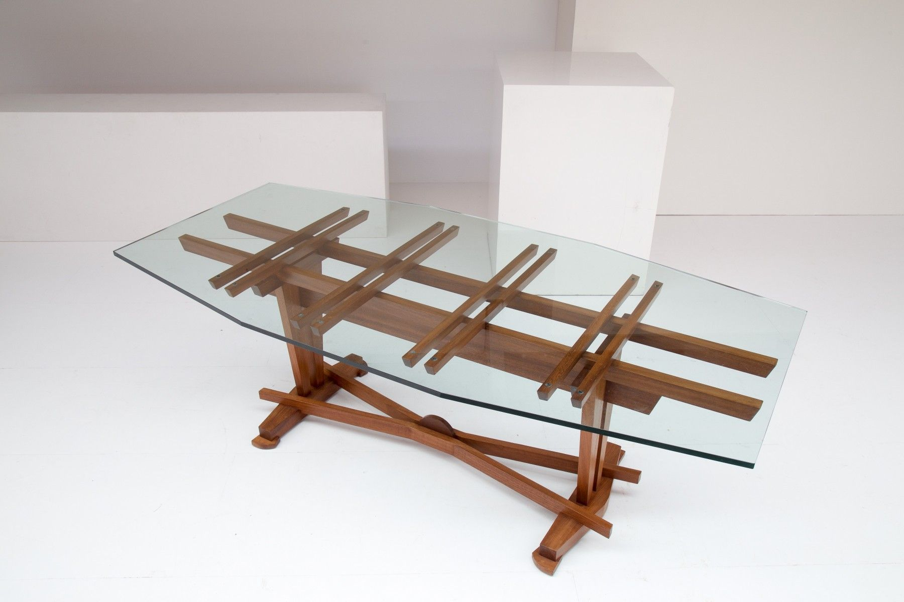Vintage Wood & Glass Dining Table By Koenraad Dewulf 1