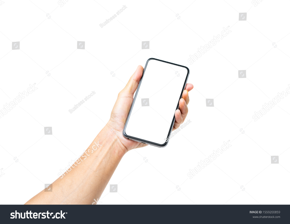 Man Hand Holding Black Smartphone Blank Stock Photo Edit Now 1559200859 Male Hands Photo Editing Stock Photos