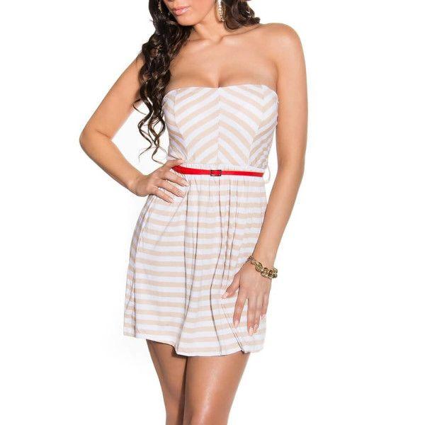 45d6d4ee9e5b Pruhované letné šaty béžové