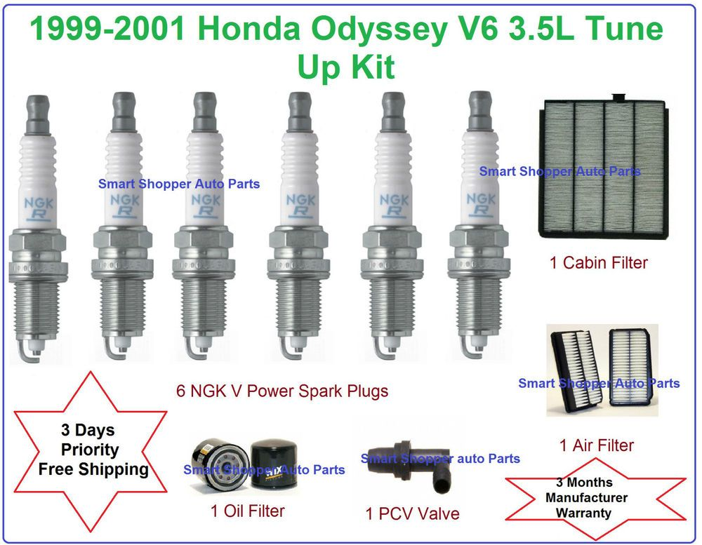 1999 2001 Honda Odyssey 3 5L V6 Tune Up Kit Spark Plugs Air Oil Cabin Filter  PCV