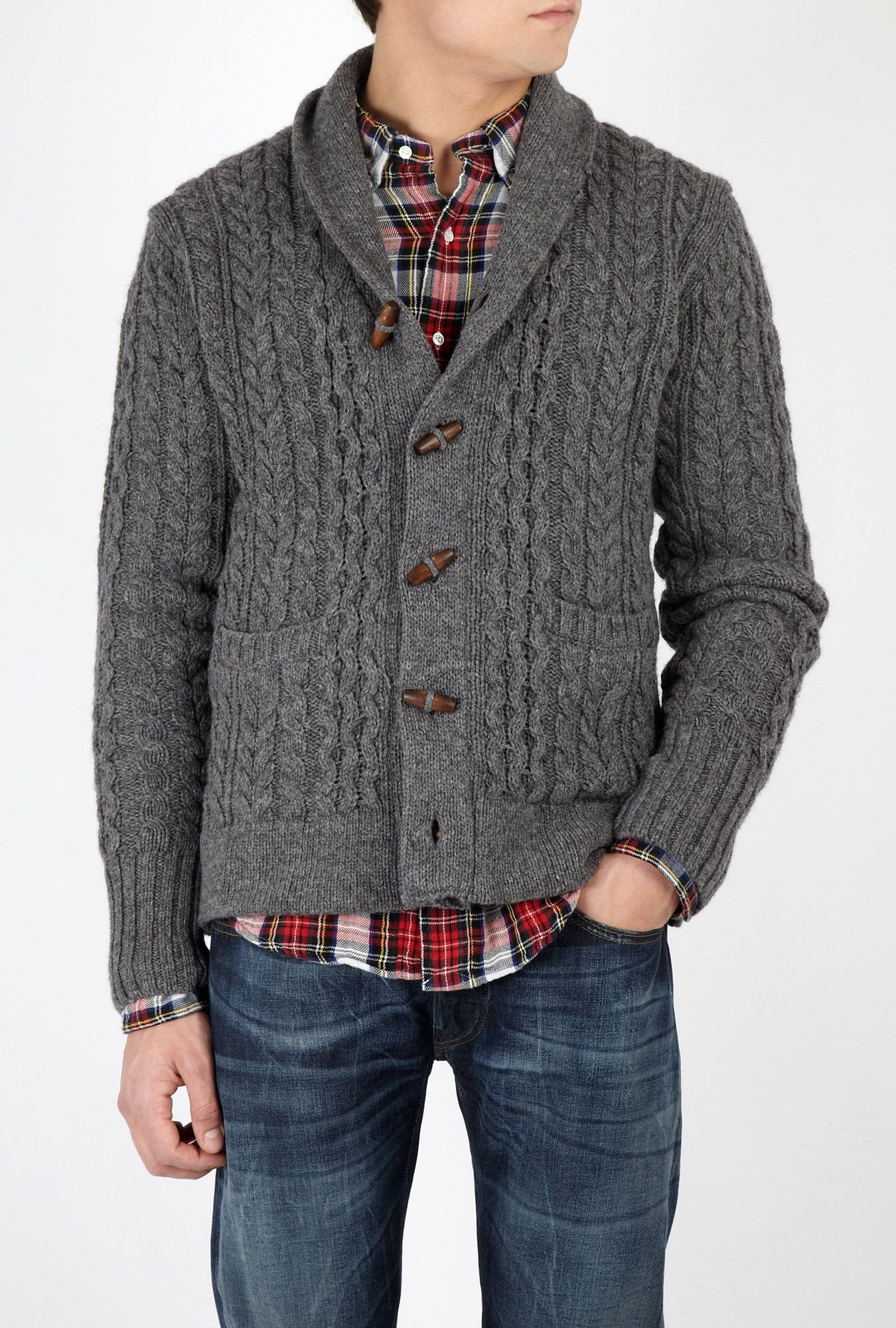Grey Wool Cable Toggle Shawl Cardigan by Levi's Vintage Clot ...