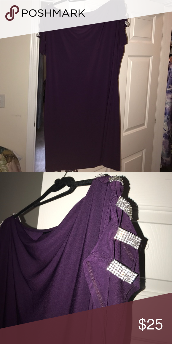Size 16 Purple dress with strapping bling arms Plum colored cocktail ...