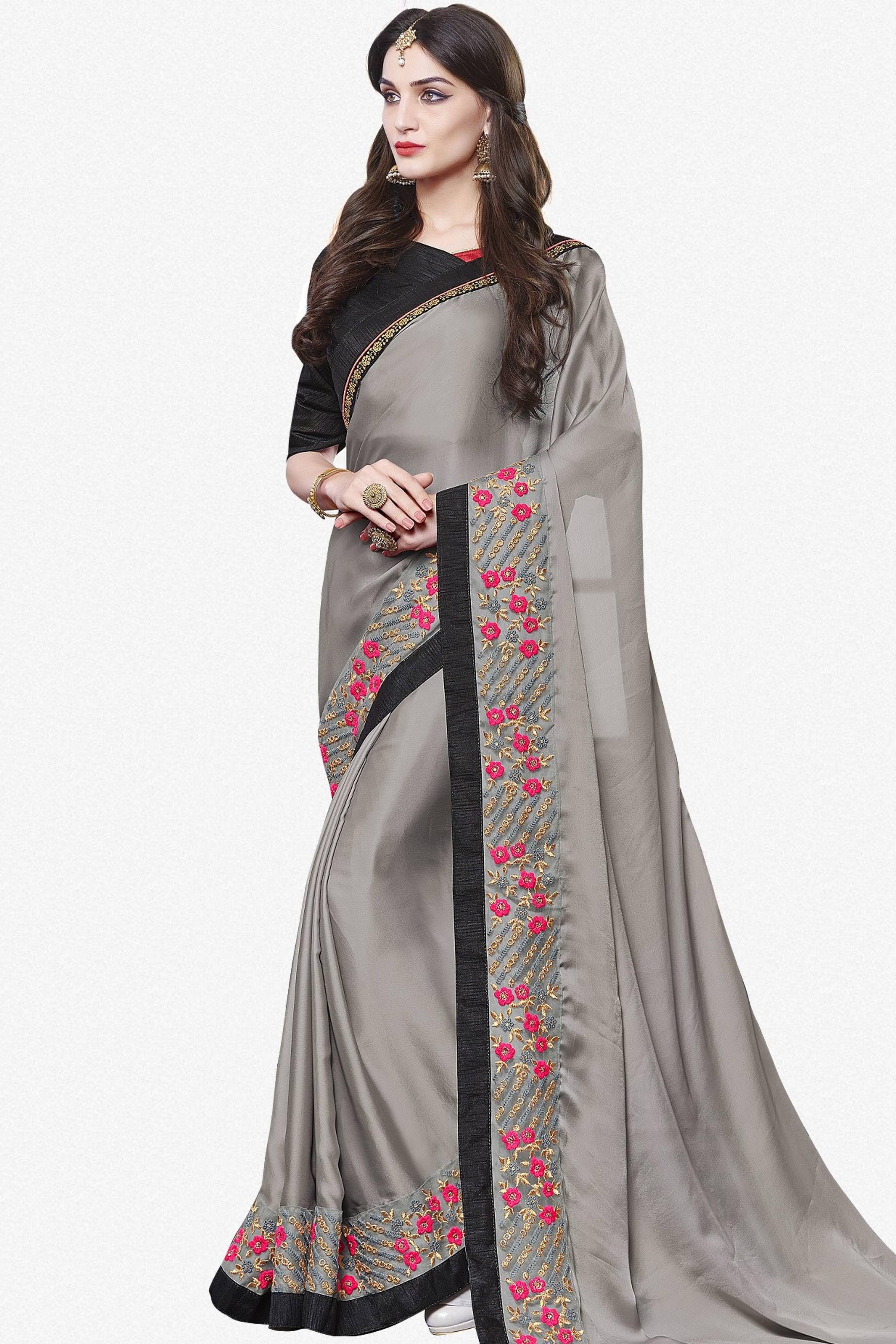5ebeb161f Designer Saree atisundar fascinating Designer Party Wear Saree With Lace in  Grey - 13274