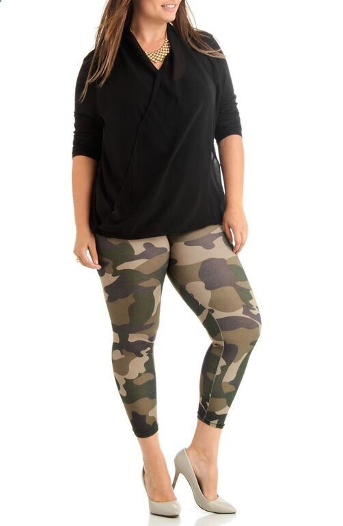 Womens Plus Size Green Camouflage Activewear Leggings
