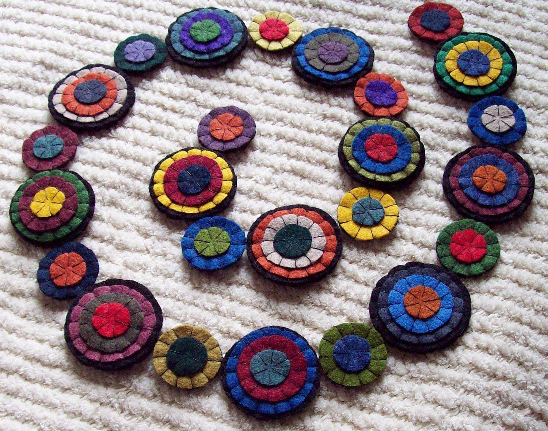 Primitive Penny Rug Garland Wool Felt Handmade Reusable