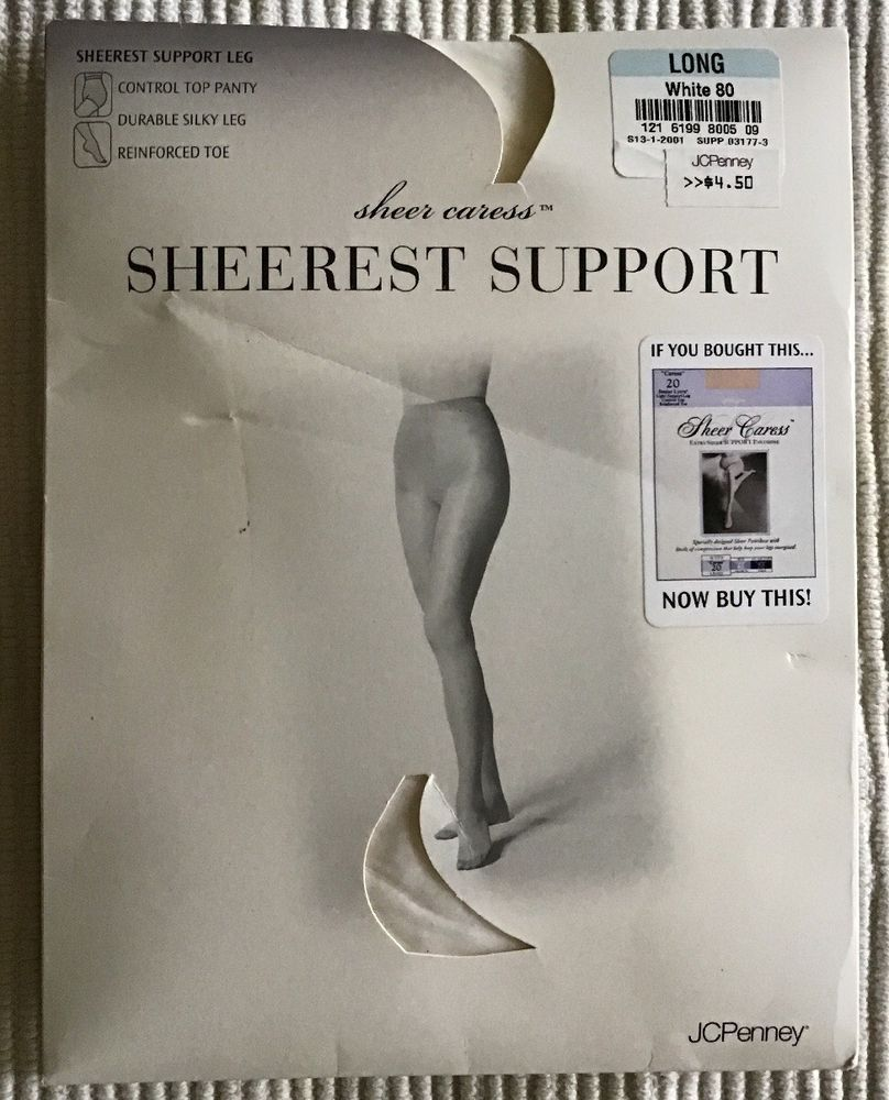3378da96b JCPenney Sheer Caress Sheerest Support Long Tall Pantyhose NEW in Packaging