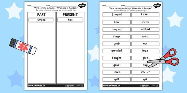 All Worksheets past and present tense worksheets ks2 : Past Tense Verb Sorting Activity | Stuff to Buy | Pinterest ...