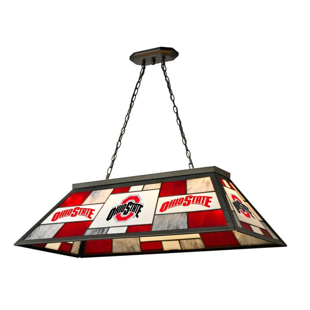Imperial 3 light black ohio state stained glass billiard lamp brighten up your game room by installing this three light black ohio state stained glass billiard lamp from imperial greentooth Image collections