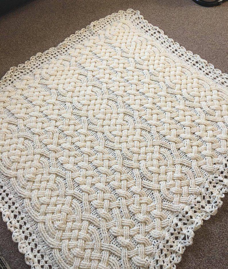Tejer patrón-Cable trenzado Manta de bebé
