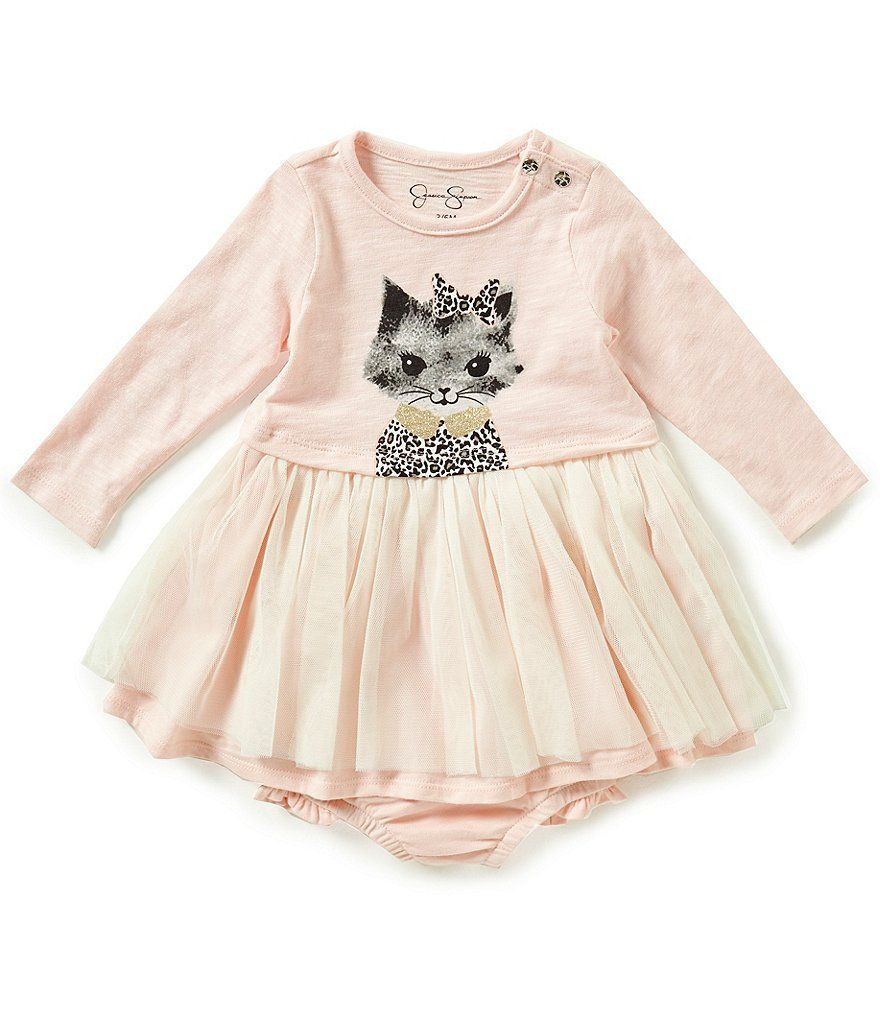 Jessica Simpson Baby Clothes Entrancing Jessica Simpson Baby Girls Newborn9 Months Catprinted Netted Dress Inspiration