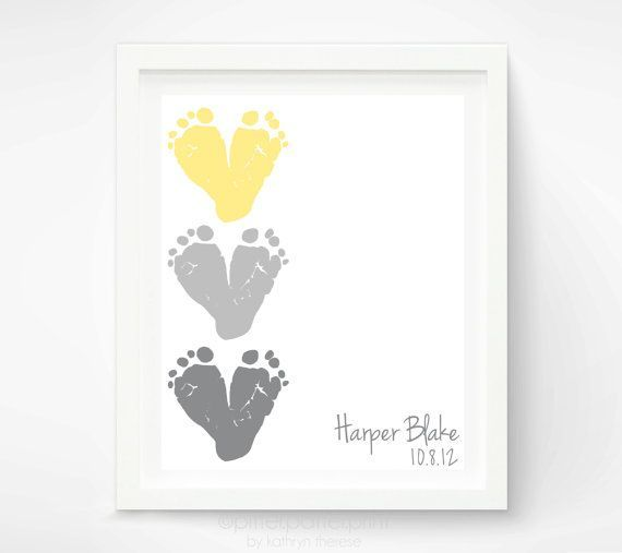 Purple Blue And Green Feet Baby Decor Baby Footprint