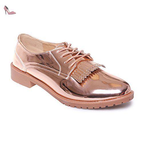 grand choix de 2019 chaussure original à chaud La Modeuse - Derbies vernis à bout rond munies de franges à ...