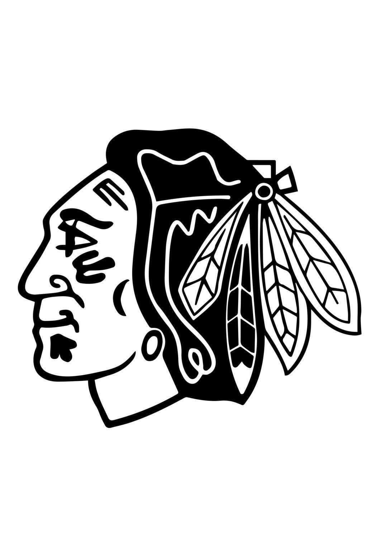 Chicago Blackhawks Vinyl Sticker Decal 9674 Chicago Blackhawks Logo Coloriage Dessin Chicago Blackhawks Logo Chicago Blackhawks Black And White Stickers