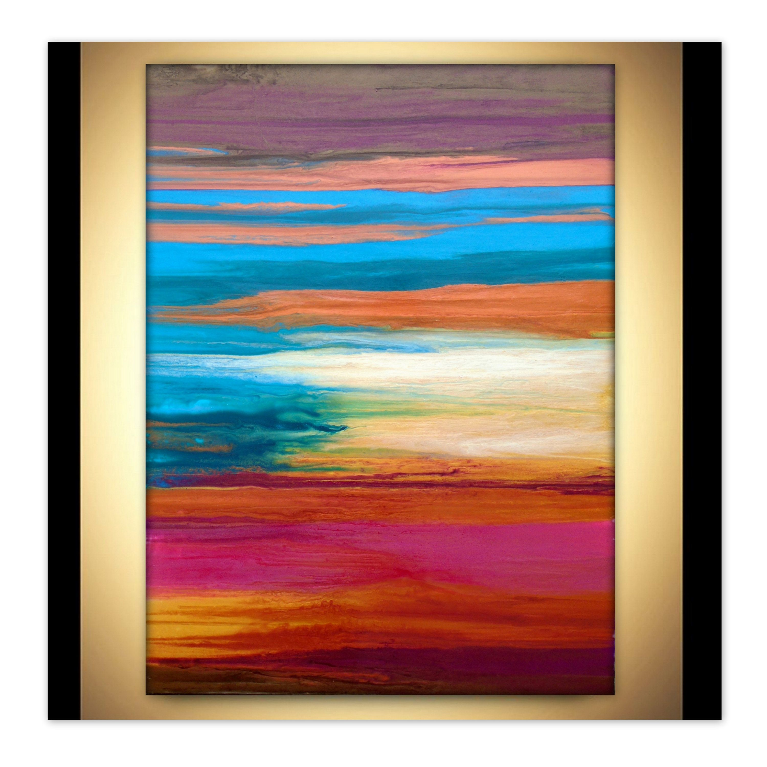 Large Wall Art Fluid Abstract Contemporary Original Poured Sunset Landscape Painting Summ Reflection Painting Abstract Art Painting Sunset Landscape Painting
