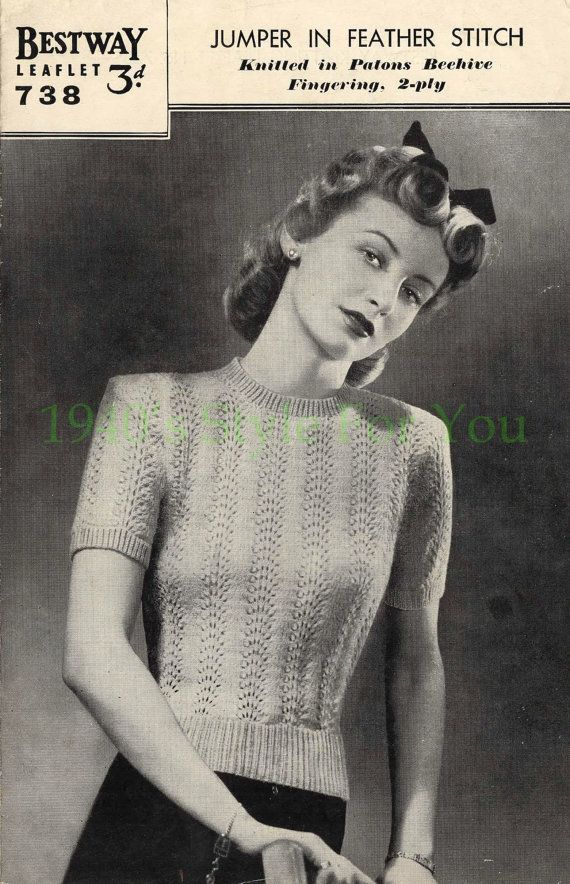 1940\'s Bestway 738 PDF Knitting Pattern - Jumper in Feather and Fan ...