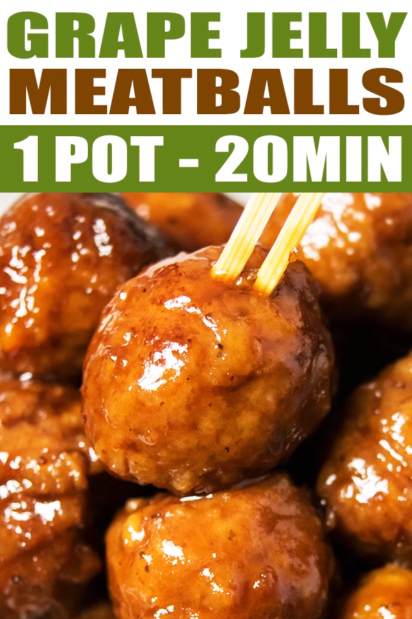 GRAPE JELLY MEATBALLS RECIPE (COCKTAIL MEATBALLS)- Quick, easy, homemade with 3 simple ingredients in Instant pot or pressure cooker: Frozen meatballs, Bbq sauce, Grape jelly. Ready in 30 minutes. Can be made on stovetop, crockpot/ slow cooker, oven too. From